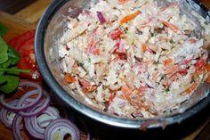 """Surówka """" pomorska """" - Ogrodnik w podróży Hot Dog, Hamburger, Grains, Rice, Food, Essen, Burgers, Meals, Seeds"""
