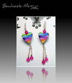 polymer clay Rainbow Watercolor Heart earrings...in my Etsy Shop