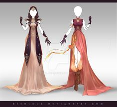 (OPEN) Adoptable Outfit Auction 222 - 223 by Risoluce on DeviantArt Dress Drawing, Drawing Clothes, Anime Outfits, Cool Outfits, Style Feminin, Anime Dress, Fantasy Dress, Fashion Art, Fashion Design