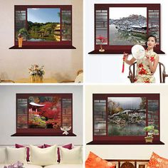 Chinese style 3D Window View Removable Wall Sticker Art PVC Decal Decor Mural