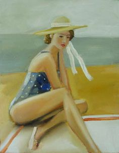 """Peaches at the beach"" by Janet Hill"
