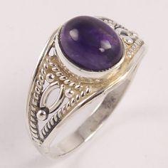 Ethnic Design 925 Sterling Silver Ring Size US 8 Natural AMETHYST Oval Gemstone #Unbranded