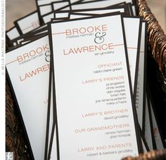 Simple, personal programs fit the couple's style as well as their wedding's color palatte -- orange and brown.