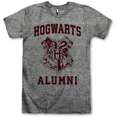 Hogwarts Alumni (€25) ❤ liked on Polyvore featuring tops, harry potter, shirts, classic fit shirt, polyester shirt, shirts & tops, unisex tops und unisex shirts