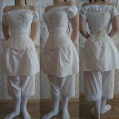 Underwear ensemble of 1857 #19century #XIX #victorian #1850s #crinolineera #corset #coutil #chemise #bloomers #pantalone #white #cotton…