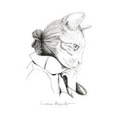 Pétalos de Piel - Laura Agustí Dark Pictures, Dark Pics, Drawings, Illustration, Zero, Fur, Gatos, Illustrations, Pintura