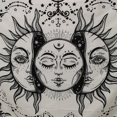 Sun And Moon Drawings, Sun Drawing, Sun And Moon Tapestry, Wall Tapestry, Moon Sketches, Moon Phases Art, Tarot, Creepy Pictures, Aesthetic Drawing