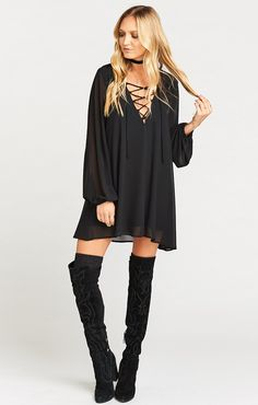 Thunderbird Dress ~ Black Chiffon