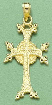Amazon.com: 14k Gold Religious Necklace Charm Pendant, Armenian Cross: Million Charms: Jewelry