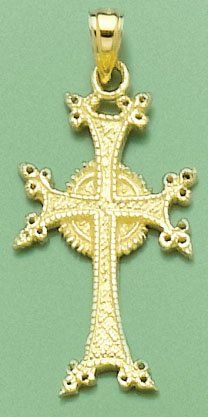 Amazon.com: 14k Gold Religious Necklace Charm Pendant, Armenian Cross: Million Charms: Jewelry