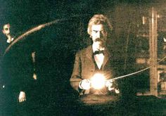 Mark Twain in Tesla's laboratory