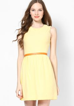 d5c6b80a8363 Buy DOROTHY PERKINS Lemon Sleeveless Ottoman Dress Online - 3521980 - Jabong