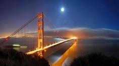 Golden Bridge Twilight Computer Wallpaper