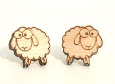Laser cut wooden earrings  Sheep earrings by BAwoodLV on Etsy