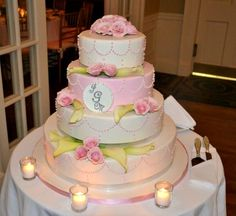 Beautiful Pink and White Wedding Cake