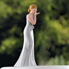 Loving Bride Blowing Kisses Wedding Cake Topper Custom  Hair Colors Available #Wedding #CakeToppers