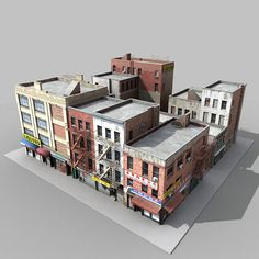 3d fbx buildings city block architectural Apocalypse Landscape, 3d Building Models, Girls Dollhouse, City Block, Building Concept, Model Train Layouts, Environment Concept Art, 3d Max, Miniature Houses