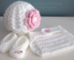 Crochet baby set of hat, booties and diaper cover - Crochet gift set - Baby…