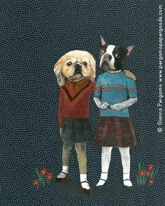 "Lady Dogs Art Print 8""x10"" by PergamoPaperGoods on Etsy"