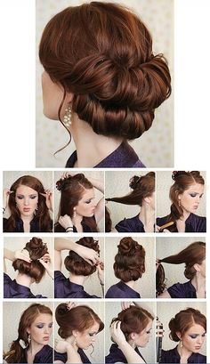 Vintage Hairstyles Tutorial step by step hairstyle tutorials - double chignon step by step Trendy Hairstyles, Wedding Hairstyles, Victorian Hairstyles, Hairstyles 2016, Medium Hairstyles, Buisness Hairstyles, 1950s Hairstyles For Long Hair, Braided Hairstyles, Church Hairstyles
