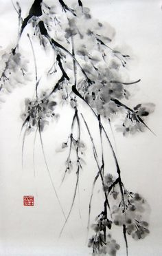 Japanese Ink Painting on Rice Paper 12x18 by Suibokuga on Etsy, €34.00