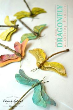 garden party Maple Seed Dragonflies - Easy Kids Crafts You will actually use - DIY Wedding Favors - Make Your Own Party Favors - Summer Crafts - Butterfly crafts - Garden Party Decorations - Baby Shower Decorations - Easy Crafts - Church Street Designs Easy Crafts For Kids, Projects For Kids, Diy For Kids, Art Projects, Diy And Crafts, Arts And Crafts, Kids Nature Crafts, Sewing Projects, Children Crafts
