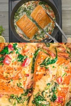 This Salmon in Roasted Pepper Sauce makes an absolutely scrumptious meal, worthy of a special occasion. Make this easy one-pan dinner in just 20 minutes! Cooktoria for more deliciousness! Grilled Salmon Recipes, Fish Recipes, Seafood Recipes, Vegetarian Recipes, Chicken Recipes, Dinner Recipes, Cooking Recipes, Healthy Recipes, Cooked Shrimp Recipes