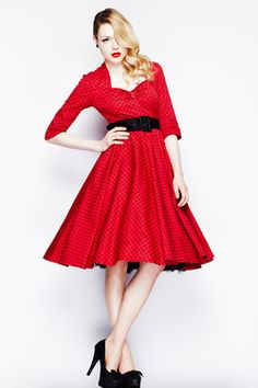 1950s style vintage red rock n roll dress. Sizes 8-16 by revolver retro on PVBMarketplace www.pvbmarketplace.com