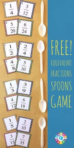 """This exciting equivalent fractions game is a twist on the classic """"Spoons"""" game. Learn how to play and get your FREE equivalent fractions cards to use in your classroom! Fractions Équivalentes, 3rd Grade Fractions, Teaching Fractions, Equivalent Fractions, Fourth Grade Math, Teaching Math, Maths, Comparing Fractions, Dividing Fractions"""