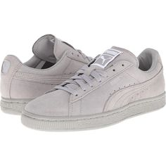 PUMA Suede Classic Matt Shine Women's Shoes, Gray ($53) ❤ liked on Polyvore featuring shoes, grey, polish shoes, puma shoes, grey suede shoes, traction shoes and cushioned shoes
