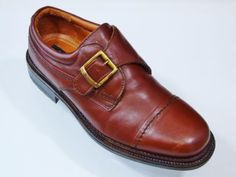 Venturini Brown Leather Single Strap Monk Shoes Loafers Made in Italy Sz 10