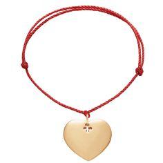 Bransoletka z pozłacanym sercem na grubym czerwonym sznurku premium - Sklep internetowy Lilou