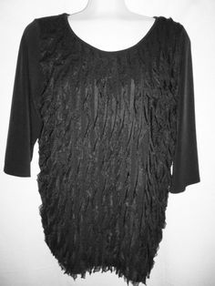 Womens NY Collection Black Top Ruffled Shirt 2X #NYCollection #Tunic #Career
