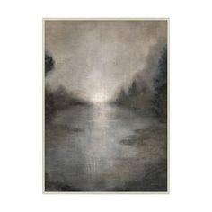 This misty landscape in tones of grey and sepia radiates a predawn peacefulness. A suggestion of light in the center reaches toward the sky and creates a subtle mirror effect in the waterway below. A subtly varied and meditative addition to any nuanced neutral space.   •All art is special order. View our shipping information and policy.  •Made in the USA.