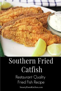 Restaurant quality Southern Fried Catfish is easy to make at home and delicious served with a tangy homemade tartar sauce! Share this recipe! Seafood Dishes, Fish And Seafood, Seafood Recipes, Cooking Recipes, Fresh Seafood, Fried Catfish Recipes, Cracker Barrel Fried Catfish Recipe, Fried Catfish Nuggets, Southern Fried Catfish