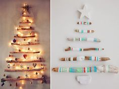 DIY Christmas Tree on the wall Homemade Christmas Tree, Christmas Diy, Christmas Decorations, Do It Yourself Projects, Projects To Try, Navidad Diy, Christmas Baubles, Christmas Trees, Silent Night