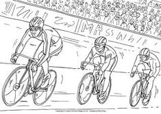 All the excitement of a track cycling race has been captured in this colouring picture! We've based this one losely on the London Olympics in Online Coloring Pages, Colouring Pages, Adult Coloring Pages, Sports Day Pictures, One Perspective Drawing, Cycle Drawing, Kids Olympics, Color Race, Track Cycling