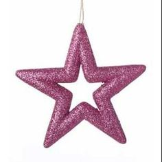 """5.25"""" Vibrant Pink Glitter Drenched Star Christmas Ornament"""