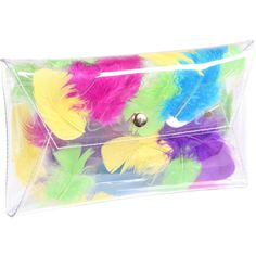 Clear clutch envelope transparent bag with colorfull real feather modern girl woman envelope purse party bag evening bag clear bags clutches (184 PLN) found on Polyvore featuring bags, handbags, clutches, transparent handbag, feather purse, multi colored clutches, colorful handbags and evening hand bags