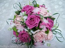 Fuchsia & Pale Pink White Rose Lily Valley Hydrangea Bridal Posy Wedding Bouquet