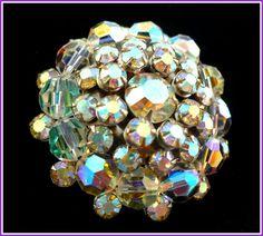 Vintage Aurora Borealis Rhinestone & Crystal Brooch.   by MarlosMarvelousFinds $34.26