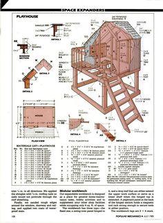 Popular Mechanics - playhouse idea and add slide⚜Buffy VS⚜ Backyard Playhouse, Build A Playhouse, Backyard Playground, Backyard For Kids, Kids Playhouse Plans, Kids Outside Playhouse, Playhouse Slide, Cubby Houses, Play Houses
