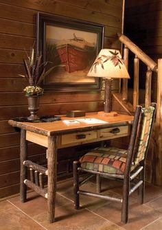 hickory log office furniture including rustic hickory desks