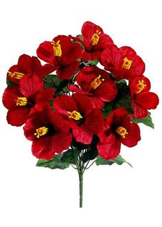 """Hibiscus Faux Flower Bush in Red 4"""" Wide x 19"""" Tall"""