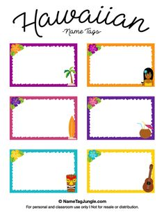 Free printable Hawaiian name tags. The template can also be used for creating items like labels and place cards. Download the PDF at http://nametagjungle.com/name-tag/hawaiian/