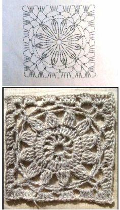 Crochet Square Patterns, Crochet Diagram, Crochet Chart, Crochet Squares, Crochet Motif, Crochet Designs, Crochet Doilies, Scrap Yarn Crochet, Cute Crochet