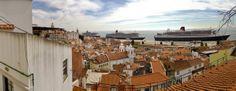 Além dos três Queen visíveis na imagem, o porto de Lisboa acolhe hoje mais dois cruzeiros de grande dimensão nas restantes docas - The 3 Queens are in Lisbon, Portugal