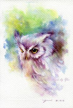 Colour, detail, cuteness, EVERYTHING! Drucken – Baby Eule Aquarellzeichnung x Owl Watercolor, Watercolor Sketchbook, Watercolor Animals, Watercolor Paintings, Tattoo Watercolor, Owl Art, Bird Art, Motif Art Deco, Art Et Illustration