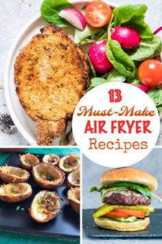 13 Must-Make Air Fryer Recipes Make the most out of your air fryer with these 13 mouth-watering recipes for everything from breakfast to dinner with a few air fryer appetizer recipes thrown in for good measure. Air Fryer Oven Recipes, Air Fry Recipes, Cooking Recipes, Healthy Recipes, Delicious Recipes, Appetizer Recipes, Dinner Recipes, Appetizers, Sauce Pizza