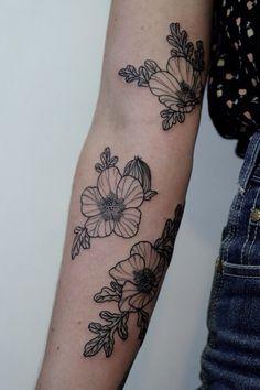 Cute flower sleeve arm tattoo - woman tattoo